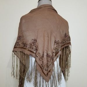 Beaded Victorian Revival Triangle Fringe Shawl